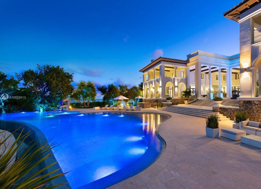 Waterfront Mansion Tahiti Beach Island, Coral Gables, Florida,
