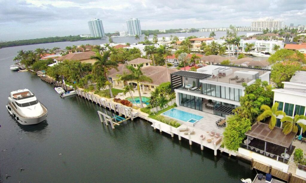 North Miami Beach Modern Home with Yacht Dockage