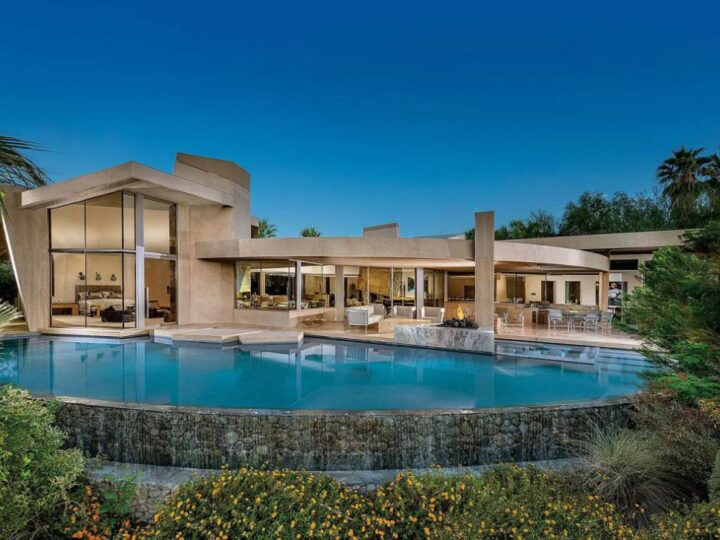 Palm Desert Home with Geometric Waterfall Accents