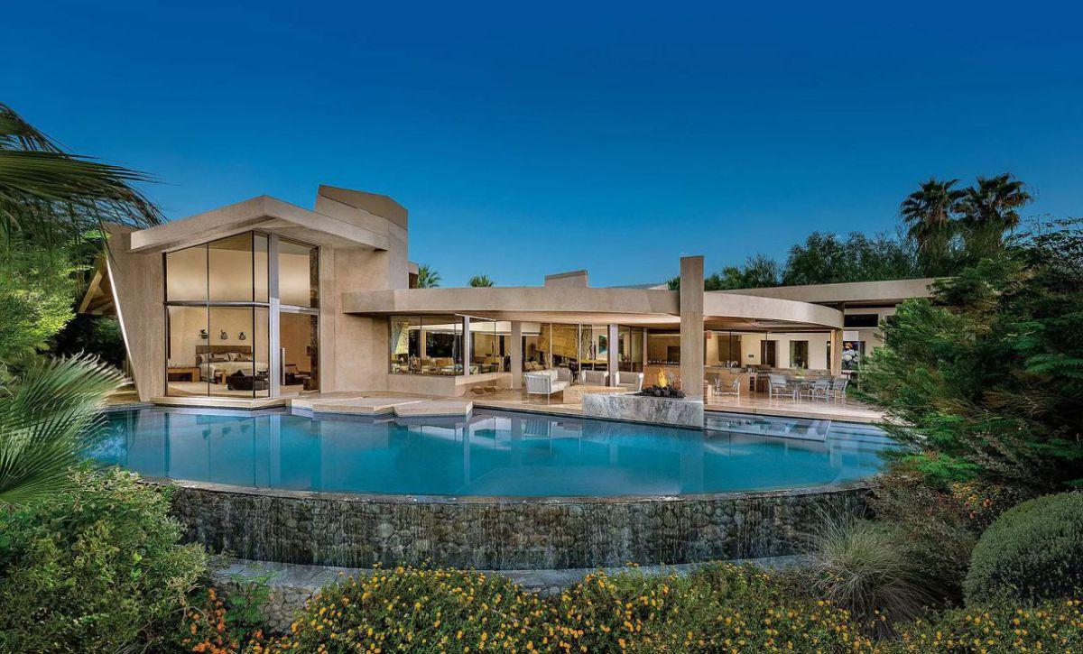 Just $6,900,000 for Palm Desert Home with Geometric Waterfall Accents