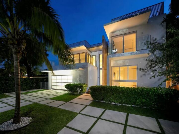 A $9,590,000 Bay Harbor Islands Home for Sale features Wide Bay Views