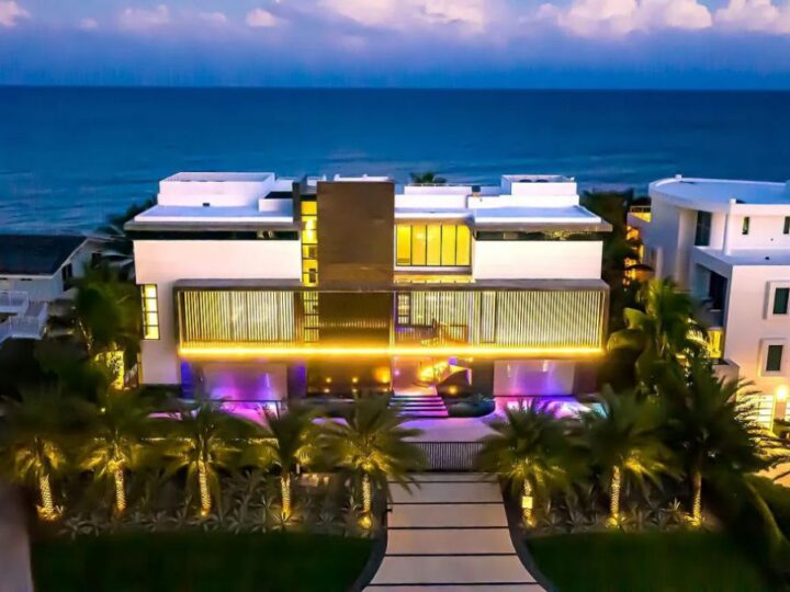 The Florida Mansion is a luxurious estate was masterfully crafted to the very highest standards now available for sale. This home located at 3715 S Ocean Blvd, Highland Beach, Florida; offering 7 bedrooms and 9 bathrooms with over 11,000 square feet of living spaces.