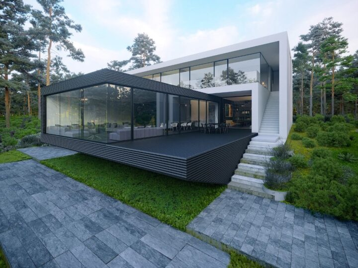 Design Concept of House in Forest is a project located in Ukraine was designed in concept stage by Alexander Zhidkov Architect in Modern style; it offers luxurious modern living in forest. This home located on beautiful lot with amazing views and wonderful outdoor living spaces.