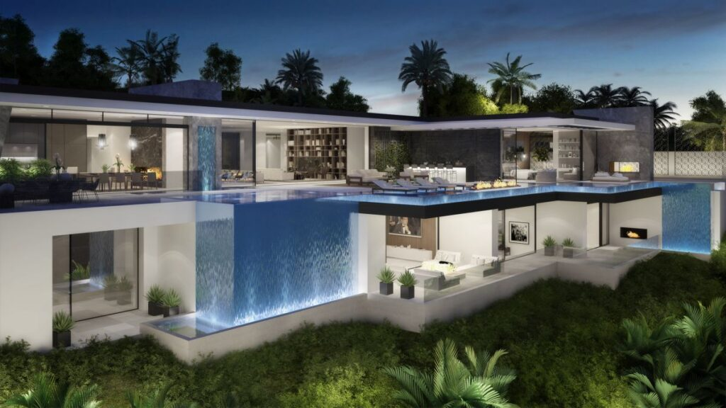Design Concept of Wallace Mansion is a project located in Beverly Hills, Los Angeles, designed in concept stage by CLR Design Group in Modern style; it offers luxurious modern living with 6 bedrooms and 9 bathrooms of 12,000 square feet.