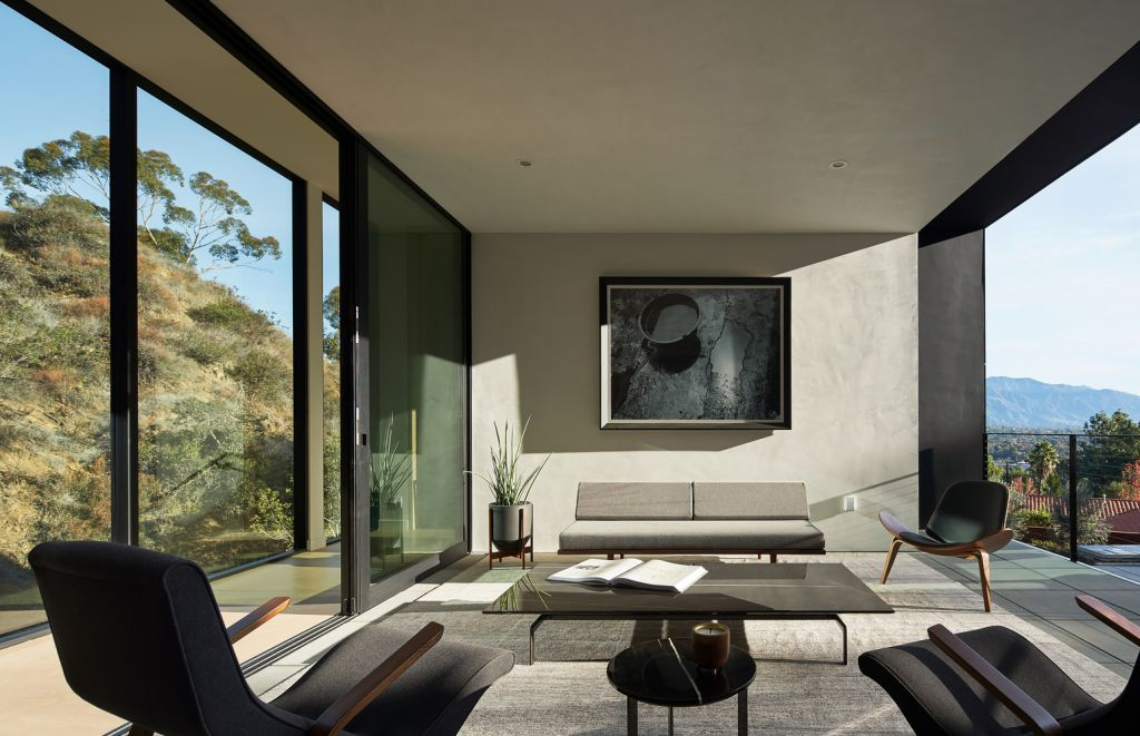"""The California Modern House named """"LR2 House""""  in Pasadena, Los Angeles, California was designed by Montalba Architects in Modern style; this house offers luxurious living with high end finishes and smart amenities."""