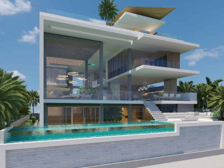 Concept Design of Royal Plams House is a project located in Gold Coast, Queensland, Australia was designed in concept stage by Chris Clout Design in Tropical contemporary style; it offers luxurious modern living.