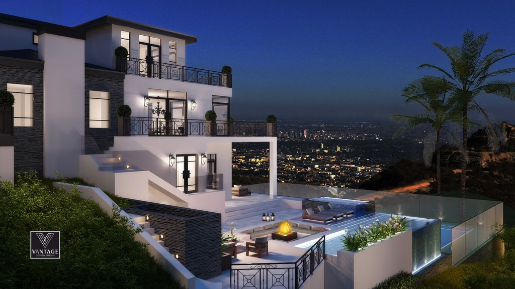 Los Angeles Modern Mansion Design Concept is a project located in Hollywood Hills was designed in concept stage by Vantage Design Group in Modern style; it offers 270 degree views overlooking the city from downtown to Catalina Island. This home located on beautiful lot with amazing views and wonderful outdoor living spaces.