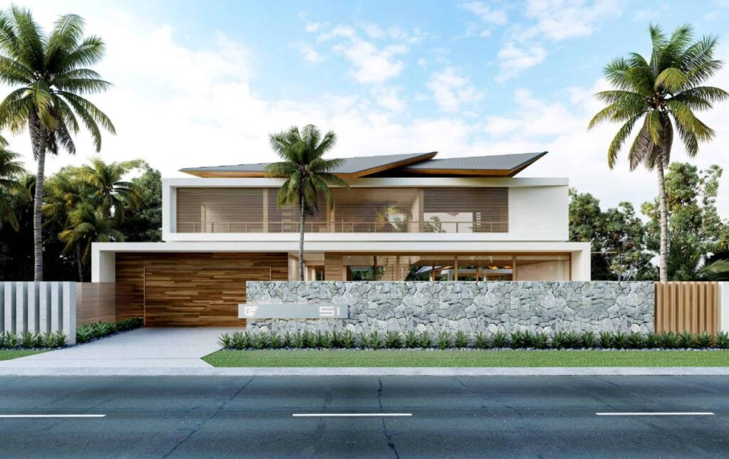 Modern Thai House Concept is a project located in Noosa Heads, Sunshine Coast, Australia was designed in concept stage by Chris Clout Design in Tropical contemporary style; it offers great connection between the indoors and outdoors with views to the waterfront and gardens.
