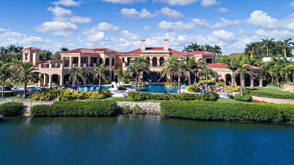 The Jupiter Mansion is the largest Intracoastal property in Admirals Cove boasts over 365' of prime protected waterfrontage for a Mega Yacht now available for sale. This home located at 176 Spyglass Ln, Jupiter, Florida; offering 6 bedrooms and 10 bathrooms with over 16,700 square feet of living spaces.