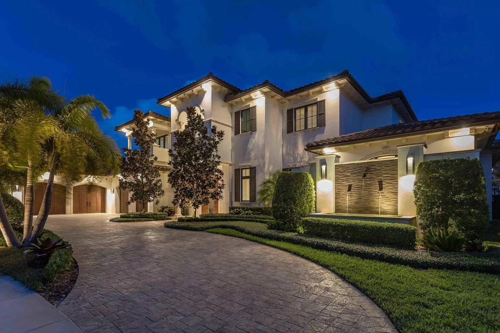 The Boca Raton House is an incredible Intracoastal estate features Resort style living with pool, outdoor kitchen and bar now available for sale. This home located at 7596 NE Orchid Bay Ter, Boca Raton, Florida; offering 5 bedrooms and 7 bathrooms with over 8,000 square feet of living spaces.