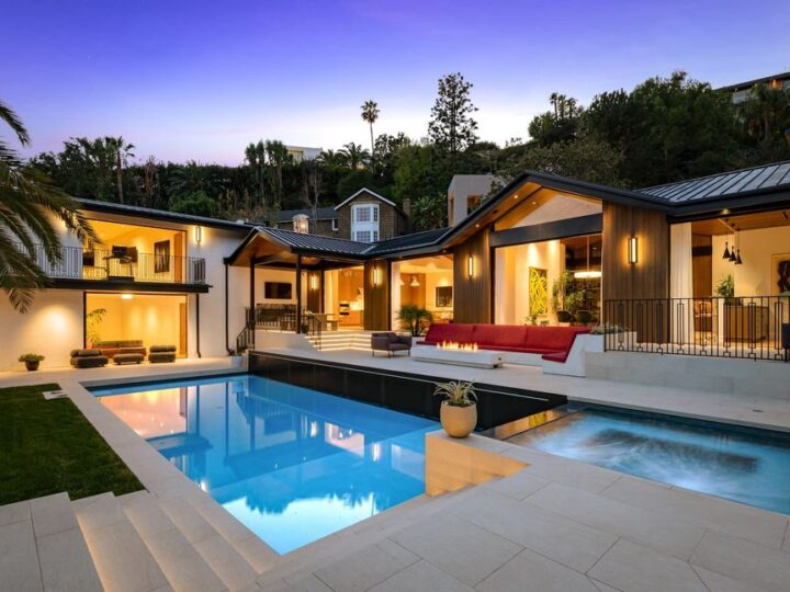 The Beverly Hills Home is a brand new 5-bed residence with details flow throughout appealing to the nostalgia of Hollywood glamour now available for sale. This home located at 9300 Beverly Crest Dr, Beverly Hills, California; offering 5 bedrooms and 7 bathrooms with over 6,700 square feet of living spaces.