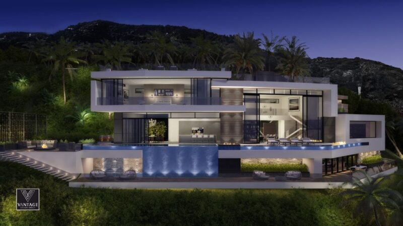 Conceptual Design of Curson Terrace Residence is a project located in prime Hollywood Hills, Los Angeles was designed in concept stage by Vantage Design Group; it offers unobstructed jet-liner views from Downtown Los Angeles to the Pacific Ocean.