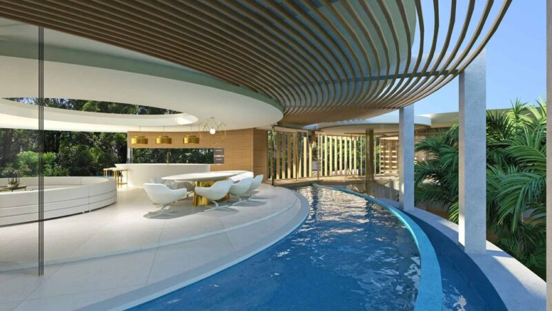 Conceptual Design of Lilly Pad House is a project located in Rangeville, Queensland, Australia was designed in concept stage by Chris Clout Design; it offers luxurious modern beach living.