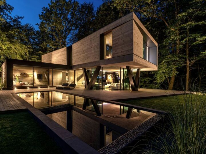 Villa NEO House in Germany was designed by Querkopf Architekten with the concept for an incomparable sense of living in the midst of nature. This house offers a high degree of privacy and protection.