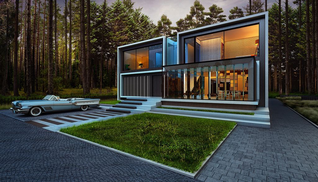 Design Concept of dreamy Modern House is a project located in Ukraine was designed in concept stage by Alexander Zhidkov Architect in contemporary style; it offers luxurious modern living in forest.