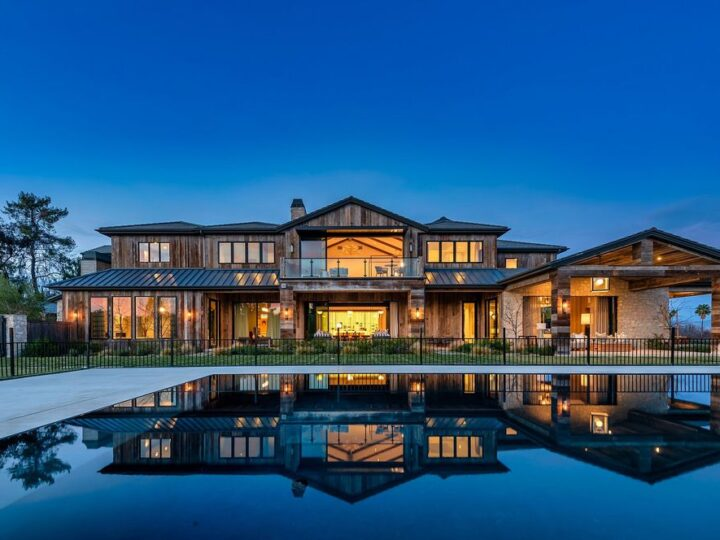 The California Property is an extraordinary newer rustic contemporary Farmhouse with explosive panoramic views now available for sale. This California Property located at 5521 Paradise Valley Rd, Hidden Hills, California; offering 6 bedrooms and 11 bathrooms with over 14,500 square feet of living spaces.