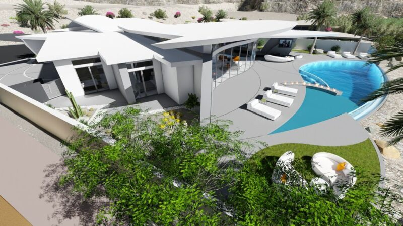 Modern Desert House Concept is a project located in California was designed in concept stage by Brian Foster Designs in contemporary style; it offers luxurious modern living in desert.