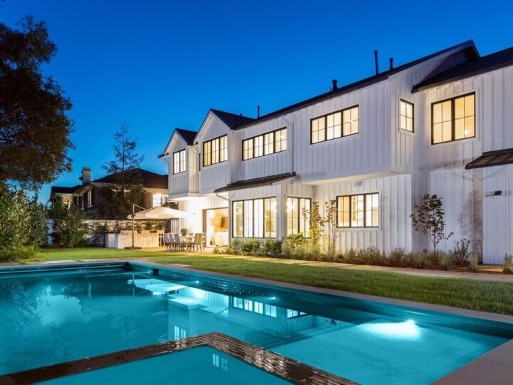 The Contemporary Farmhouse is a magnificent property in the heart of Brentwood features exceptional detailing and high end finishes now available for sale. This home located at 466 N Bundy Dr, Los Angeles, California; offering 5 bedrooms and 7 bathrooms with over 6,500 square feet of living spaces.