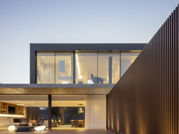 Masterful RCR House in Portugal was designed by Visioarq Arquitectos in contemporary style with concept of balance and contemplation; The spaces developed to create constant and distinct relationships between interior and exterior, with light entering where they merge.