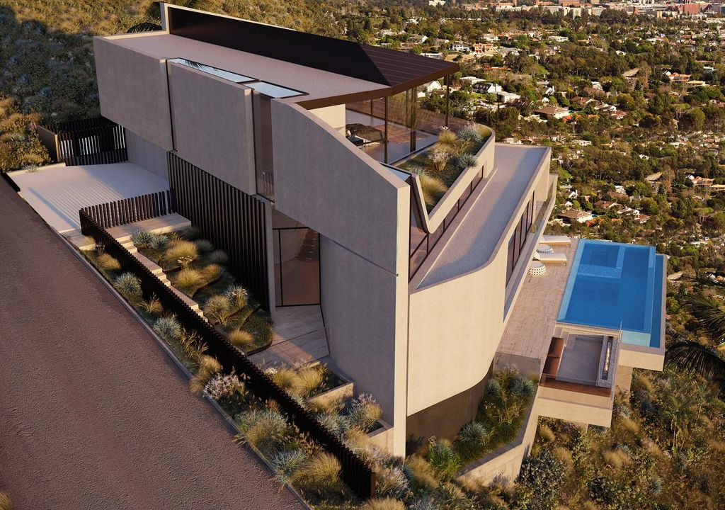 Concept Design of A World-class Architectural Estate is a project located located at the top of the Hollywood Hills, Los Angeles was designed in concept stage by Vantage Design Group; it offers stunning views from Downtown to the Pacific Ocean from almost every room.