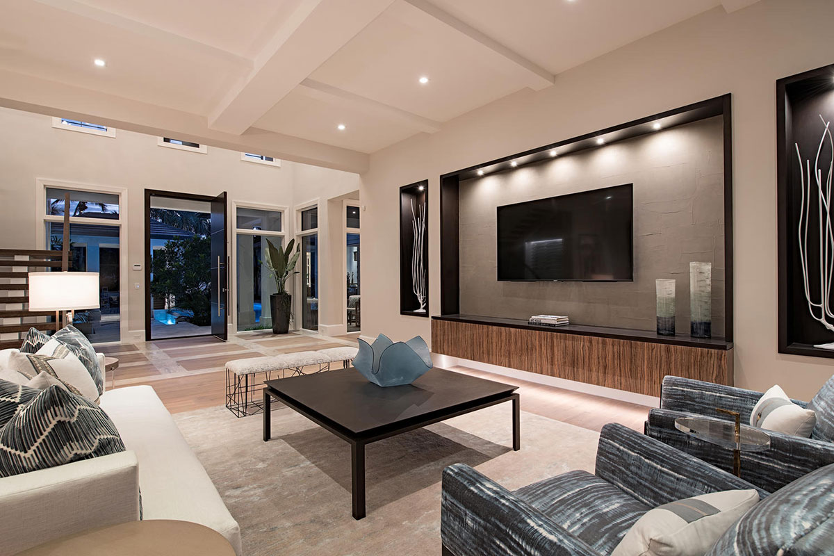 Stunning Waterfront Home in Aqualane Shores furnished by Ficarra Design