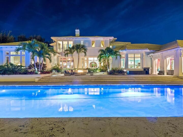 The Waterfront Estate is a Bermuda-Colonial style home has endless wide-water views of the St. Lucie River and Inlet now available for sale. This home located at 3015 SE Saint Lucie Blvd, Stuart, Florida; offering 4 bedrooms and 7 bathrooms with over 7,700 square feet of living spaces.