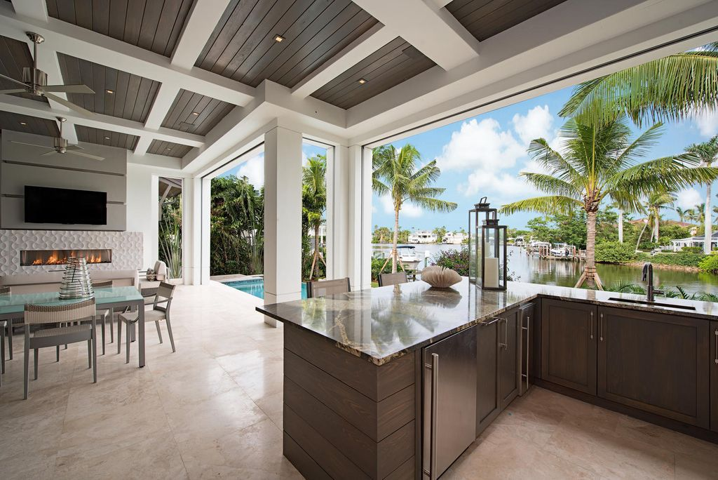 Elegant Waterfront Home In Naples drawn by Stofft Cooney Architects
