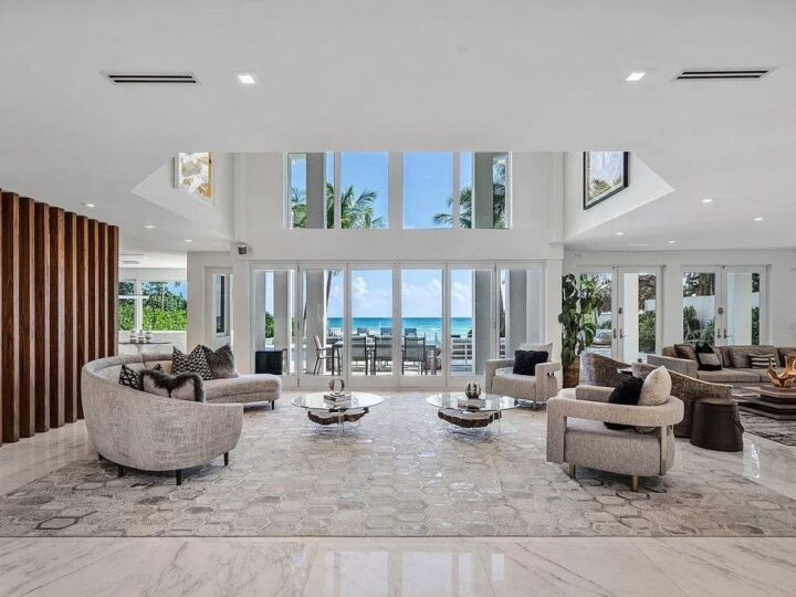 The Golden Beach Contemporary Home is a luxurious home with an open-concept contemporary floor plan of oceanfront living now available for sale. This home located at 667 Ocean Blvd, Golden Beach, Florida; offering 7 bedrooms and 9 bathrooms with over 7,000 square feet of living spaces.