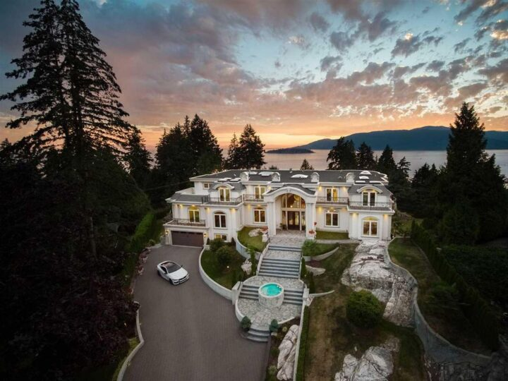 European-Style Luxury Mansion in West Vancouver with Breathtaking Ocean Views lists for C$22,800,000