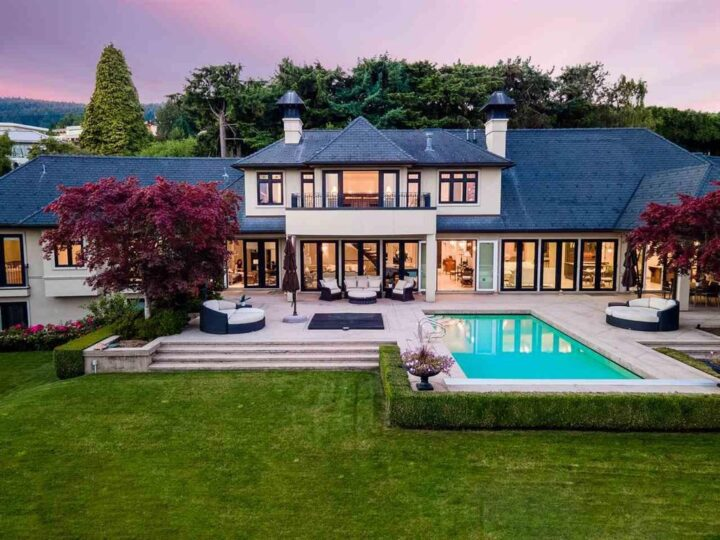 French Country Modern Villa in West Vancouver with Panoramic City & Ocean Views Sale at C$16,780,000