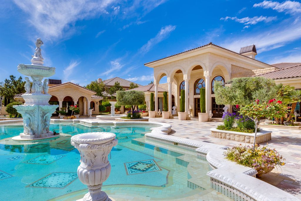 The Las Vegas Mansion is a single-story 18,000 square foot estate on over 2.8 acres located in luxury community of Las Vegas now available for sale. This home located at 9409 Kings Gate Ct, Las Vegas, Nevada