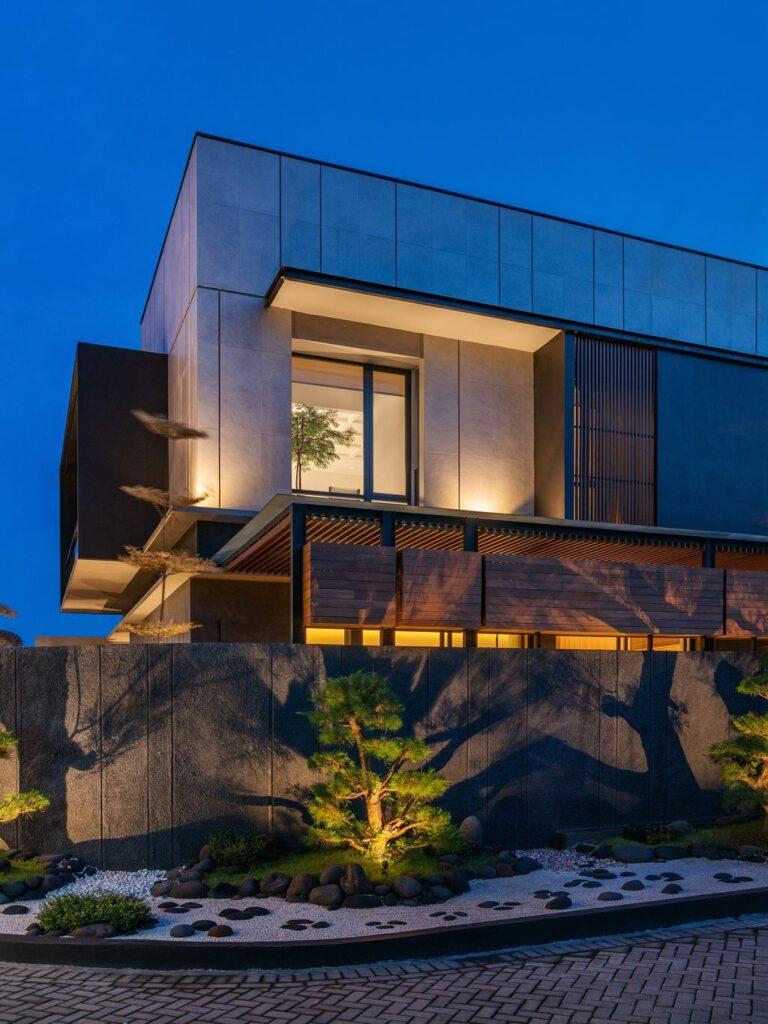 Modern J House, a Villa with Impressive Corner Plot by y0 Design Architect